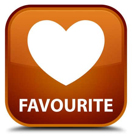 the favourite: Favourite (heart icon) brown square button