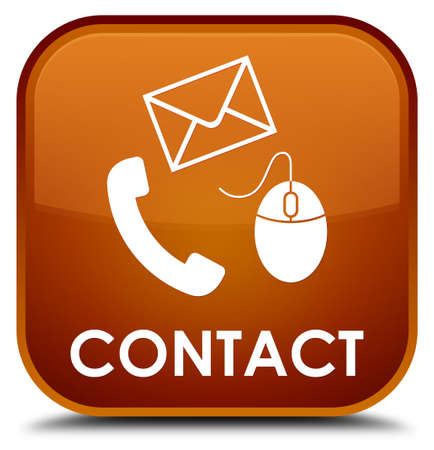 flysheet: Contact (phone, email and mouse icon) brown square button