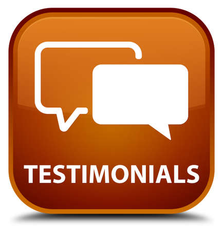 authenticate: Testimonials brown square button