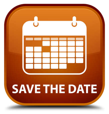 appointments: Save the date brown square button