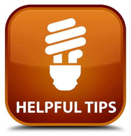 square button: Helpful tips (bulb icon) brown square button