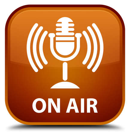 talk show: On air (mic icon) brown square button