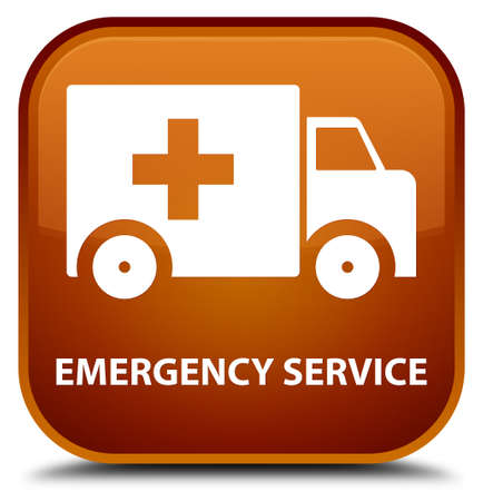 heathcare: Emergency service brown square button Stock Photo