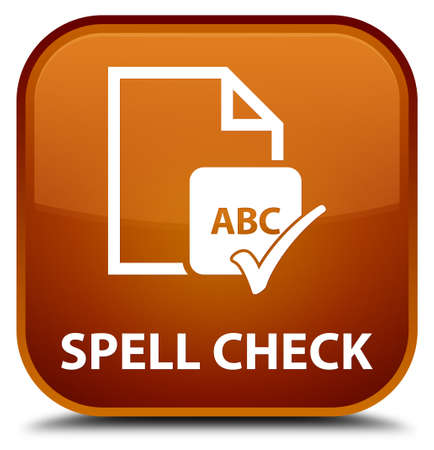 paper spell: Spell check document brown square button Stock Photo