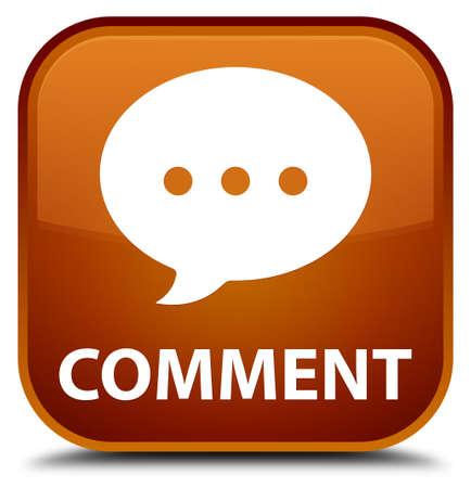 comment: Comment (conversation icon) brown square button Stock Photo
