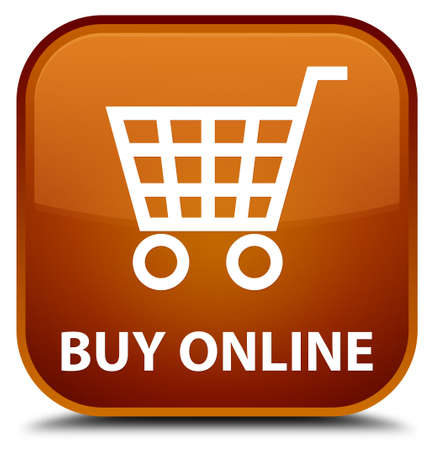 online: Buy online brown square button Stock Photo