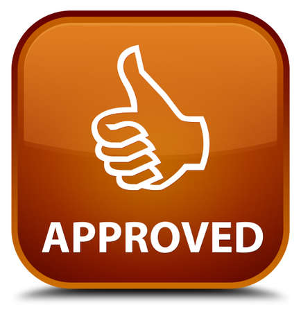approved: Approved (thumbs up icon) brown square button
