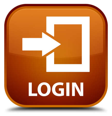 square button: Login brown square button Stock Photo