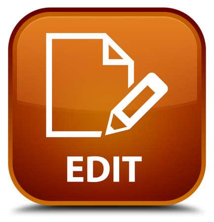 Edit brown square button Stock Photo