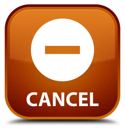 cancel: Cancel brown square button Stock Photo