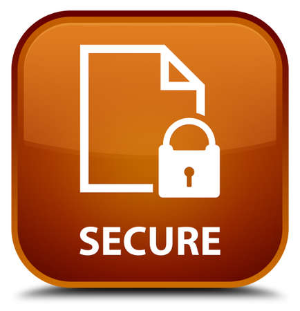 key hole shape: Secure (document page padlock icon) brown square button