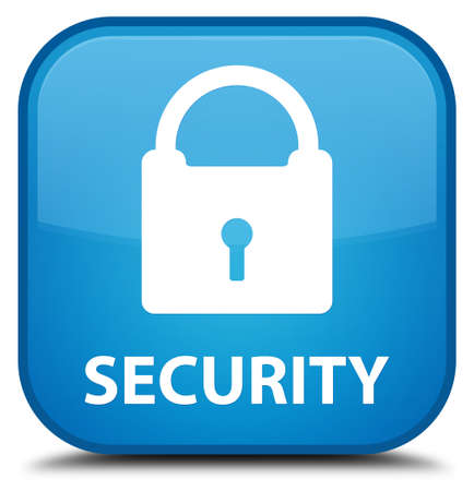 insecure: Security (padlock icon) cyan blue square button
