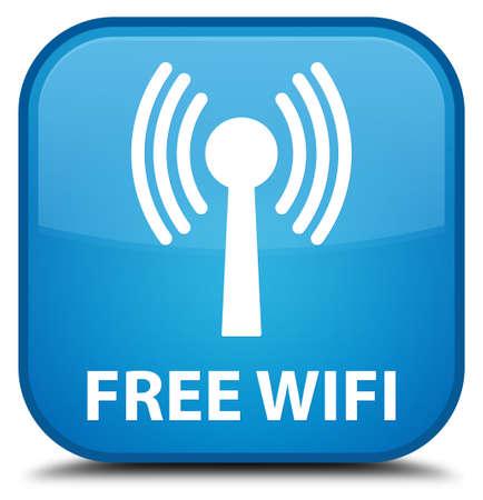 wlan: Free wifi (wlan network) cyan blue square button Stock Photo