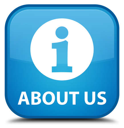 about us: About us cyan blue square button Stock Photo