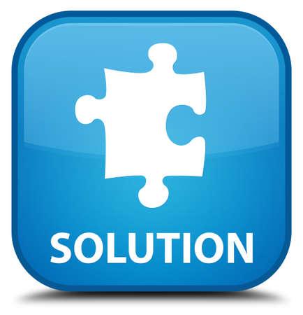 plugin: Solution (puzzle icon) cyan blue square button Stock Photo