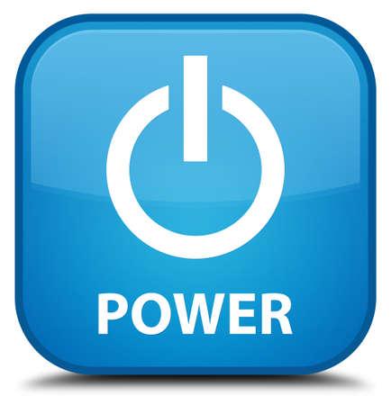 blue button: Power cyan blue square button