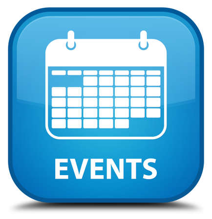 appointments: Events (calendar icon) cyan blue square button Stock Photo