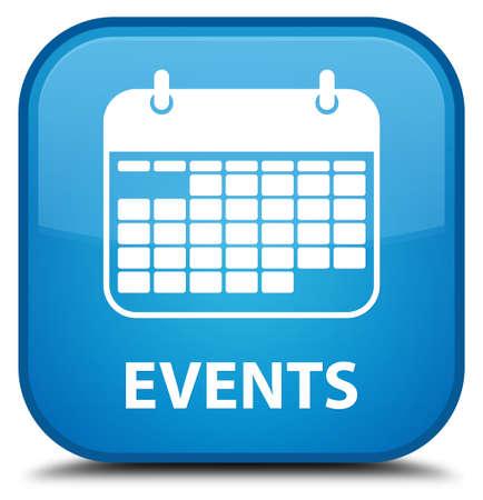 calendar icon: Events (calendar icon) cyan blue square button Stock Photo