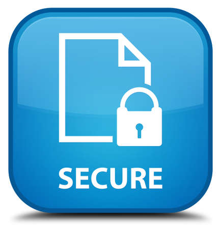 key hole shape: Secure (document page padlock icon) cyan blue square button Stock Photo