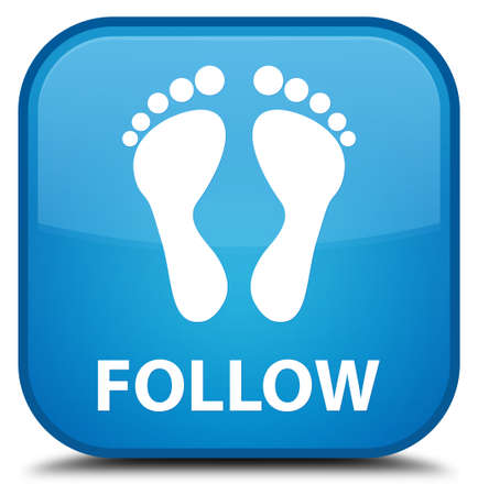 follow: Follow (footprint icon) cyan blue square button