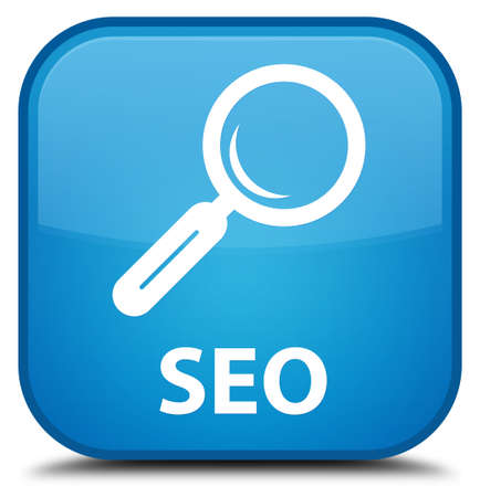 focus on shadow: Seo cyan blue square button Stock Photo