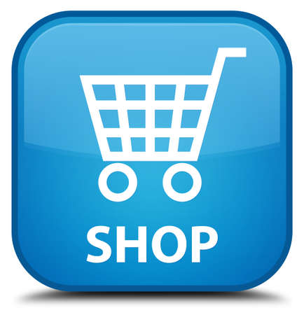 online purchase: Shop cyan blue square button Stock Photo