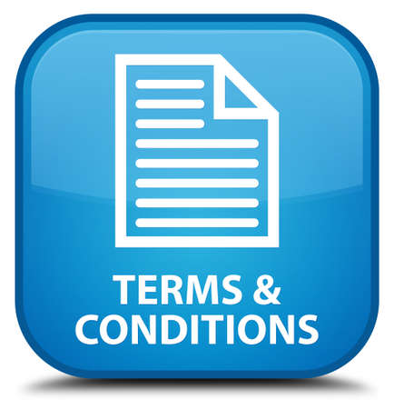 Terms and conditions (page icon) cyan blue square button Stock Photo