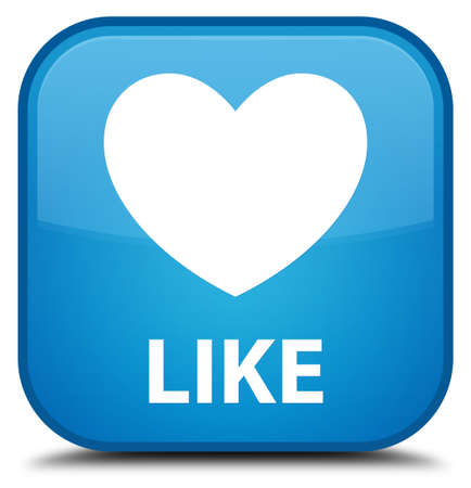 valentin's: Like (heart icon) cyan blue square button Stock Photo