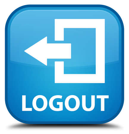 shut off: Logout cyan blue square button