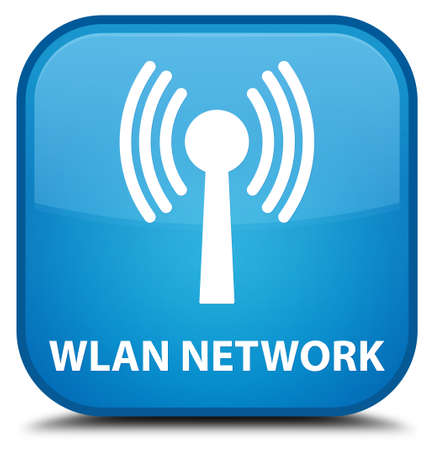 crossover: Wlan network cyan blue square button Stock Photo