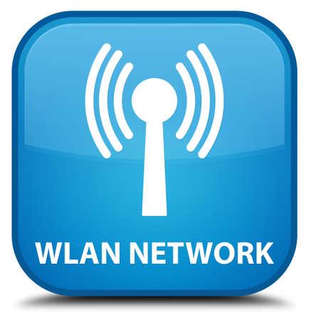 wlan: Wlan network cyan blue square button Stock Photo