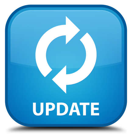 recycle icon: Update cyan blue square button Stock Photo