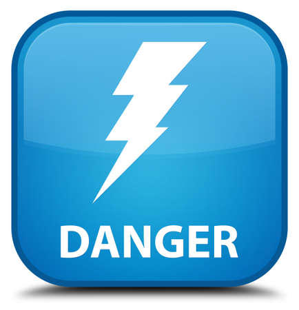 high voltage symbol: Danger (electricity icon) cyan blue square button