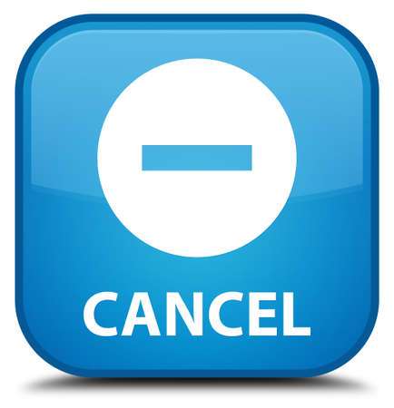 Cancel cyan blue square button