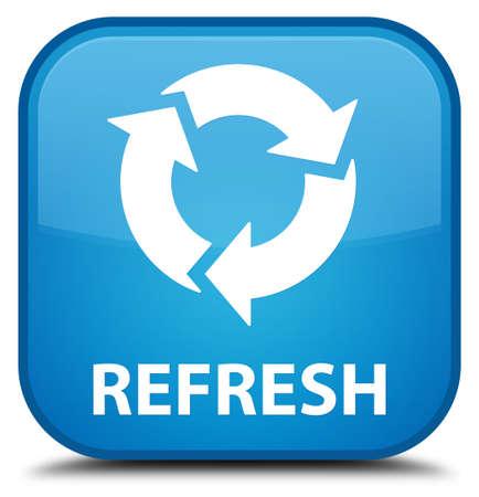 refrescar: Actualiza botón cuadrado azul cian