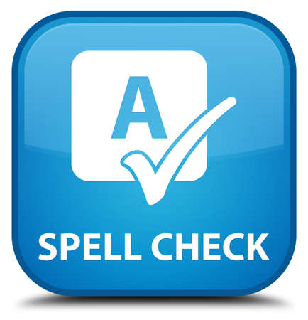 spell: Spell check cyan blue square button Stock Photo