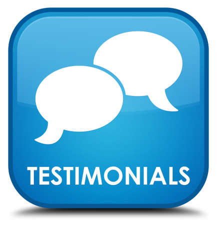 tribute: Testimonials (chat icon) cyan blue square button