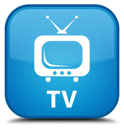 live entertainment: TV cyan blue square button Stock Photo