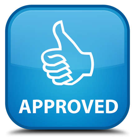 thumbs up icon: Approved (thumbs up icon) cyan blue square button