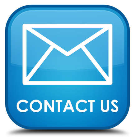 email contact: Contact us (email icon) cyan blue square button