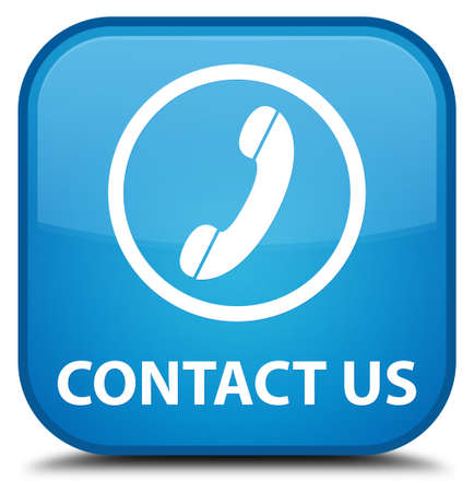contact us phone: Contact us (phone icon round border) cyan blue square button