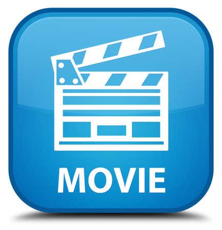 Movie (cinema clip icon) cyan blue square button
