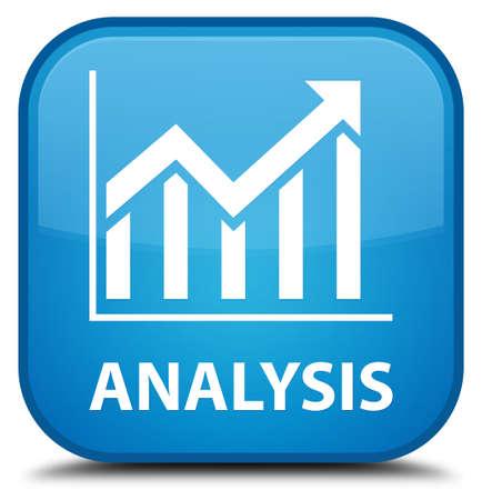 stat: Analysis (statistics icon) cyan blue square button Stock Photo