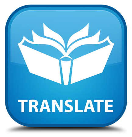 translate: Translate cyan blue square button Stock Photo