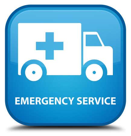 emergency button: Emergency service cyan blue square button