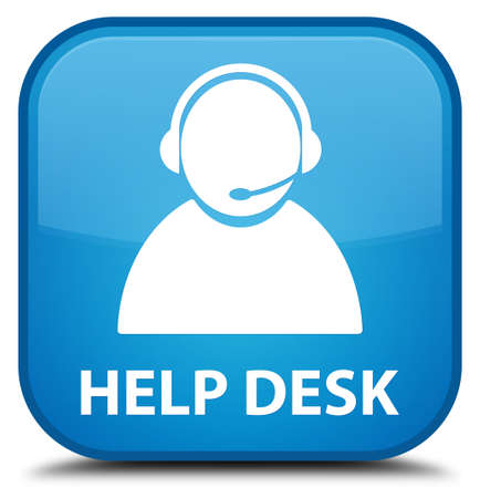 help desk: Help desk (customer care icon) cyan blue square button