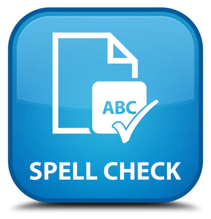paper spell: Spell check document cyan blue square button