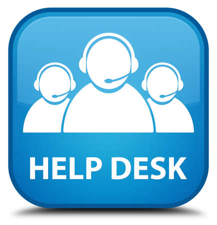 help desk: Help desk (customer care team icon) cyan blue square button