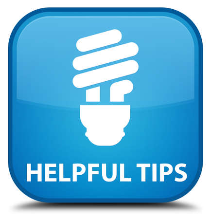 helpful: Helpful tips (bulb icon) cyan blue square button Stock Photo