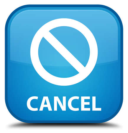 abort: Cancel (prohibition sign icon) cyan blue square button